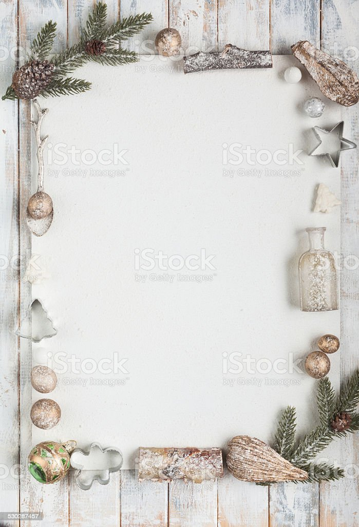 Snowbound Christmas greeting card with copy space stock photo