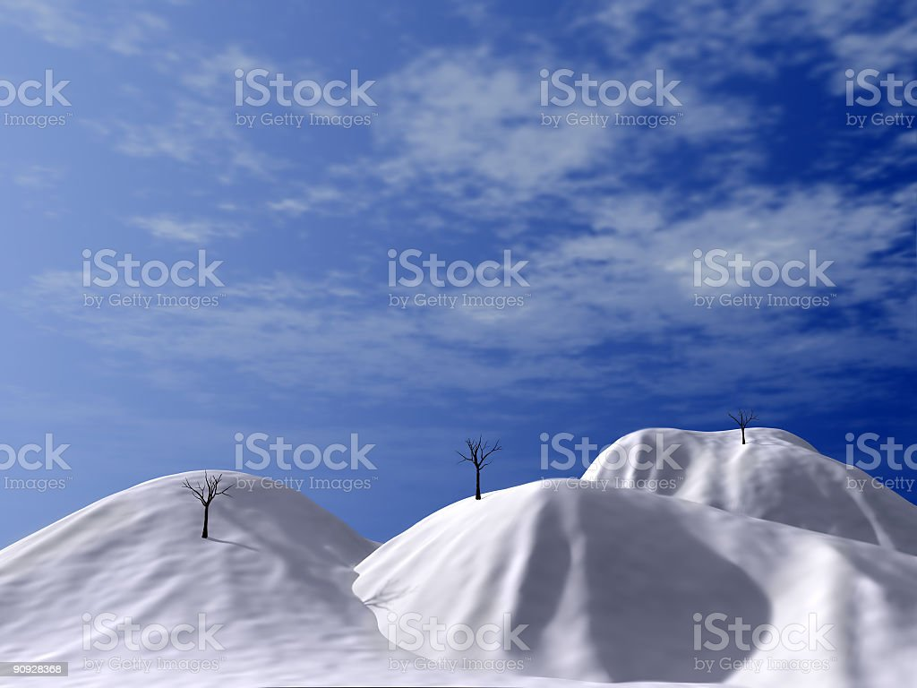 snow-bound hills royalty-free stock photo