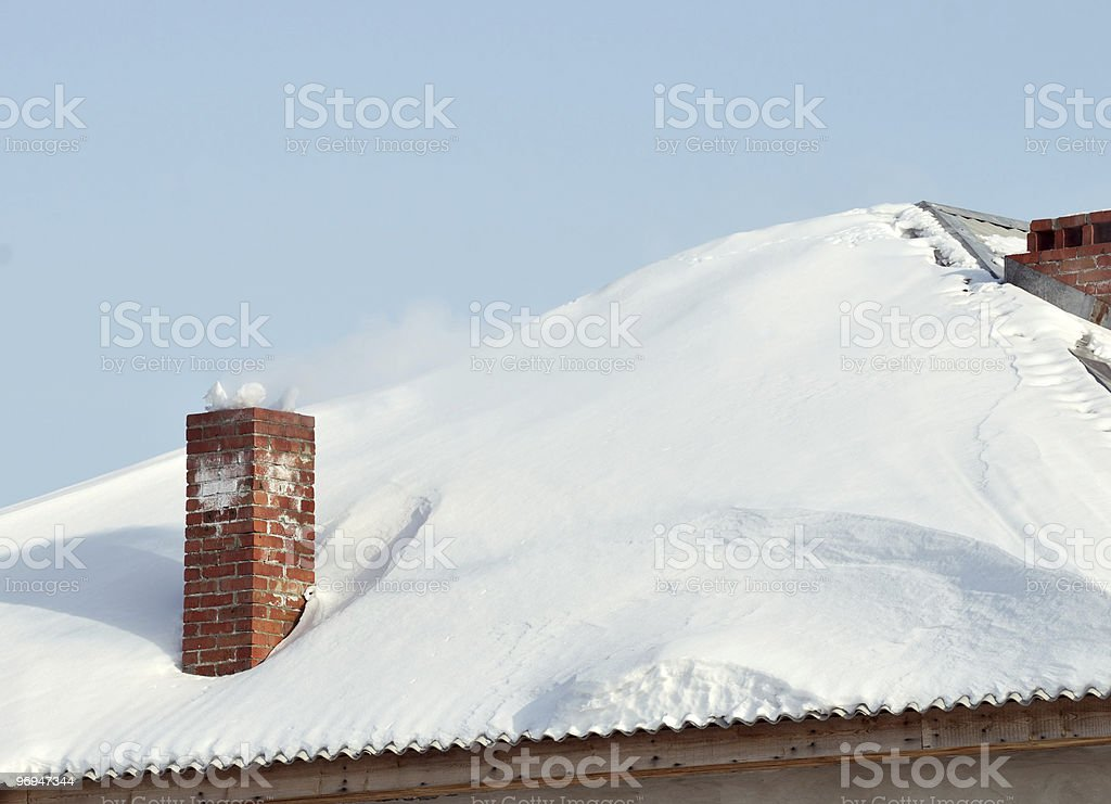 Snowbounded roof with old style red brick flue royalty-free stock photo