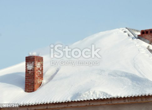Snowbounded Roof With Old Style Red Brick Flue Stock Photo & More Pictures of Brick