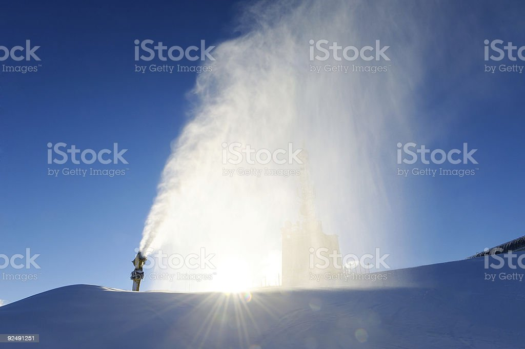 snowcannon making powder snow royalty-free stock photo