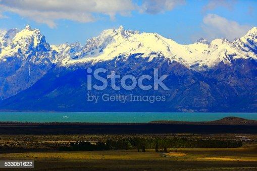 Snowcapped Andes, lake argentino at spring,  Chalten, Patagonia, Los Glaciares