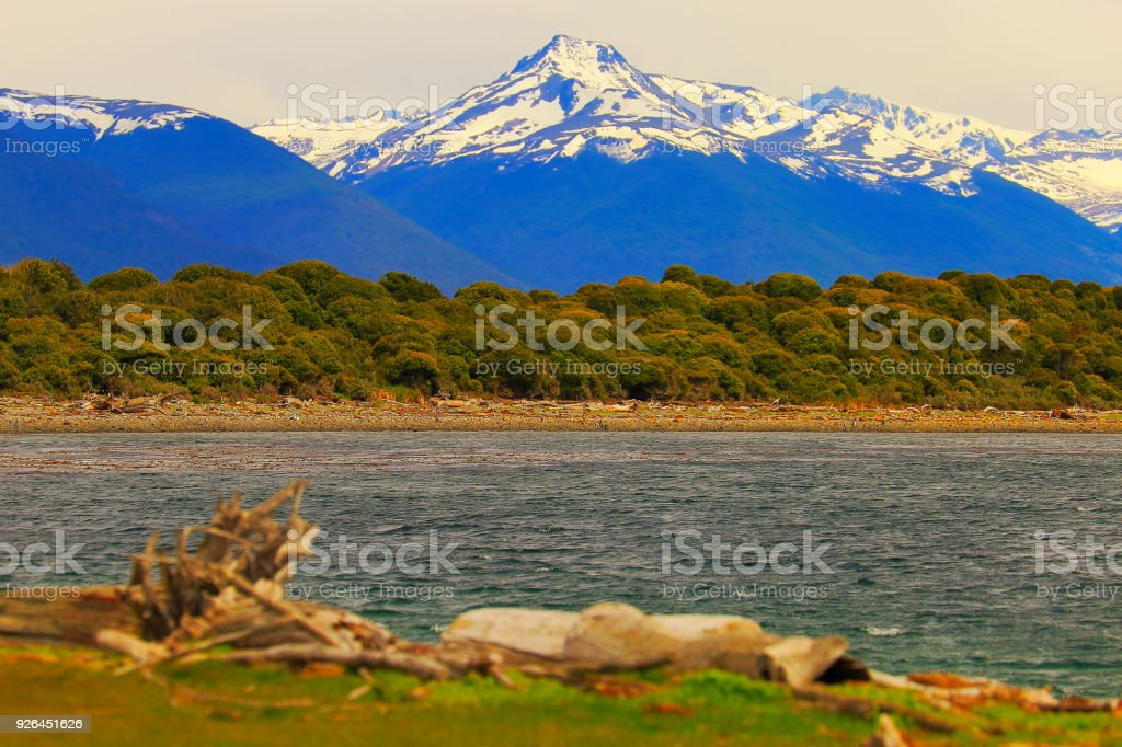 Snowcapped Andes landscape in Beagle Channel, Ushuaia - Tierra Del fuego, Argentina stock photo