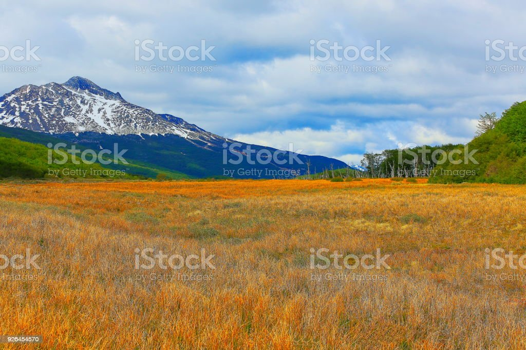 Snowcapped Andes landscape, Ushuaia - Tierra Del fuego, Argentina – South America stock photo
