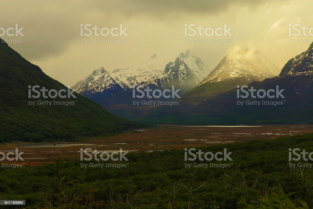 Snowcapped Andes mountains landscape, Ushuaia - Tierra Del fuego, Argentina stock photo