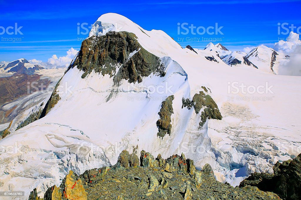 Snowcapped Breithorn Summit and Gorner glacier landscape – Swiss Alps stock photo