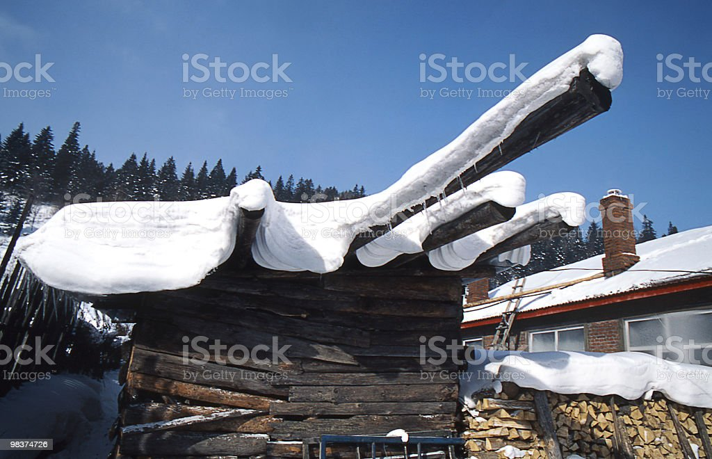 snowcapped firewood royalty-free stock photo