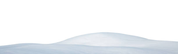 snowcapped hill on white background - snow pile stock photos and pictures