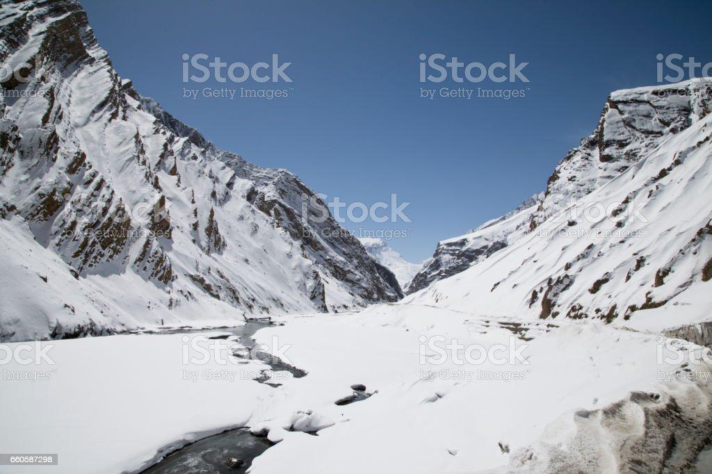 Snowcapped Himalayan mountain stock photo