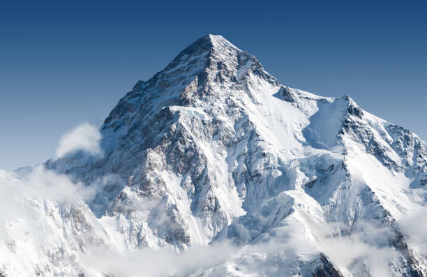 Snowcapped K2 peak K2 the second tallest mountain in the world snow stock pictures, royalty-free photos & images