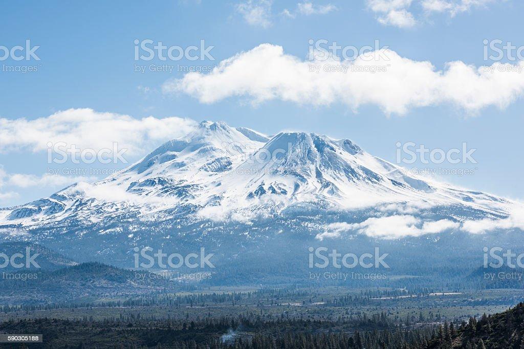 Snowcapped Mount Shasta volcano during winter stock photo