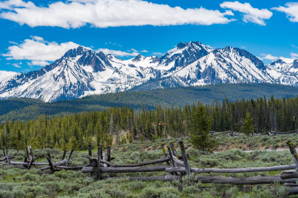 Snow-capped mountain along Sawtooth Scenic Byway stock photo