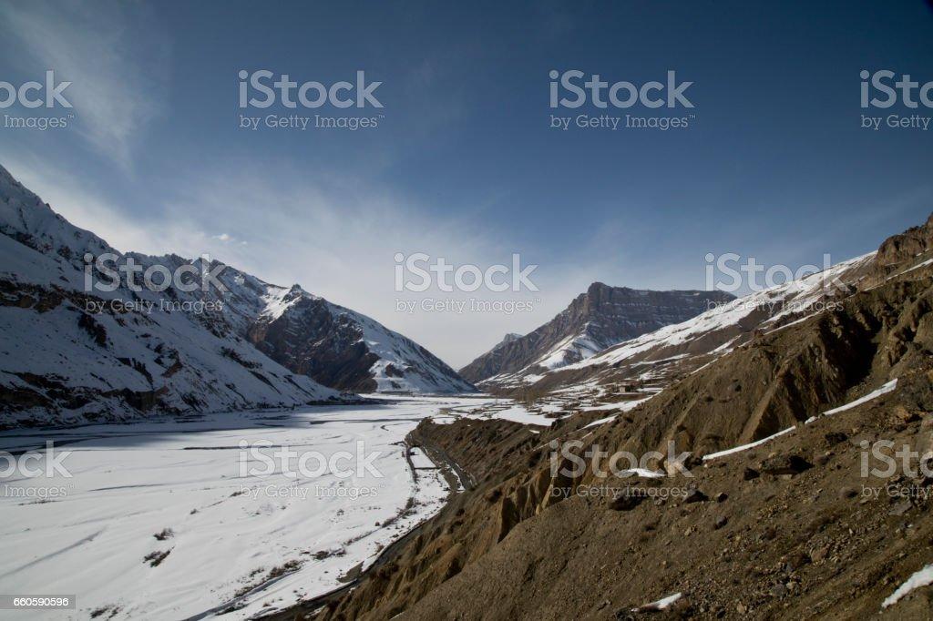 Snowcapped mountain peak royalty-free stock photo