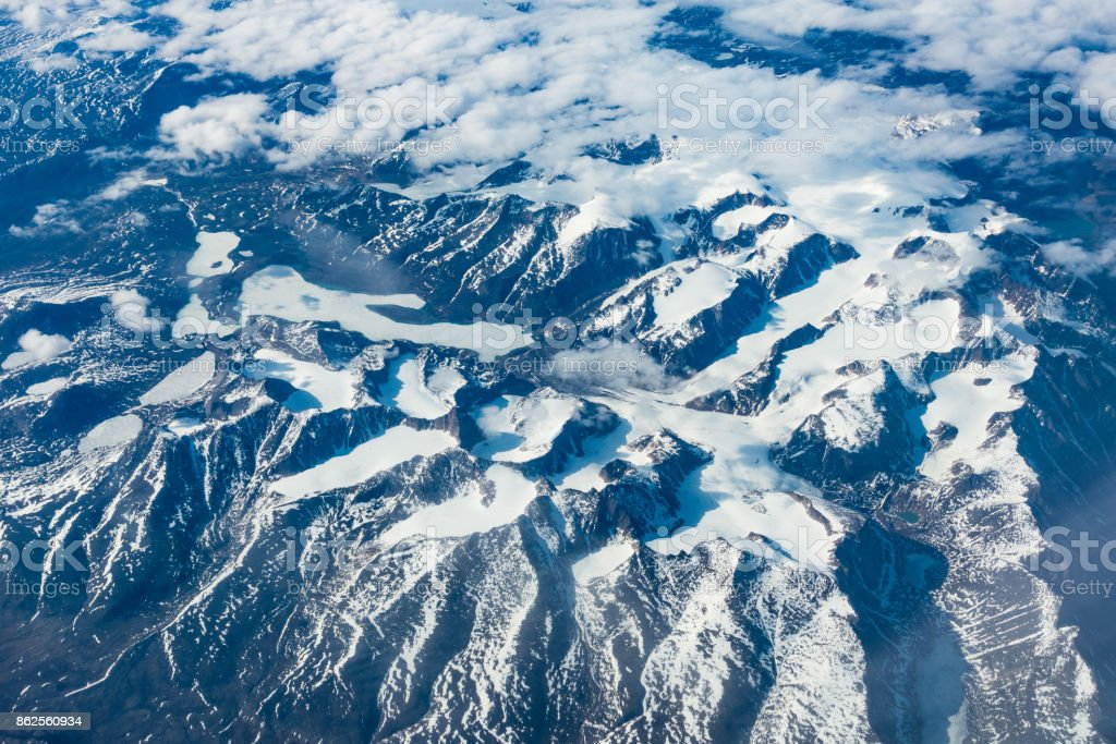Snowcapped mountains from the sky royalty-free stock photo