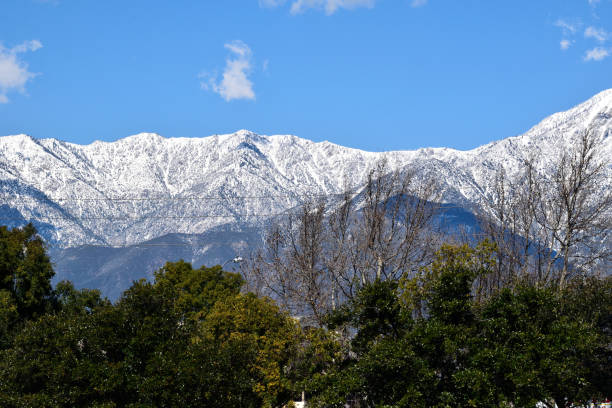 Snowcapped Mountains in San Bernardino County stock photo