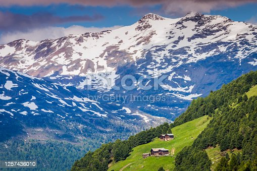 Snowcapped mountains valley in Stelvio national park, Forni – Santa Caterina di Valfurva, Italian alps