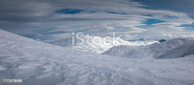 Idyllic snowcapped mountains. Dachstein Krippenstein, Austria.