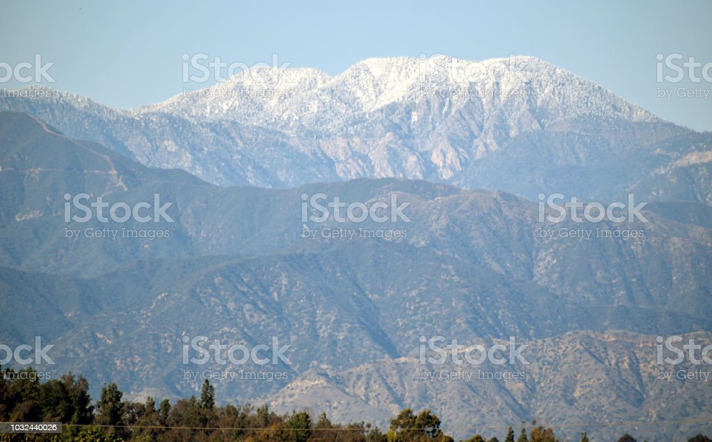Snowcapped Peaks in the San Gabriel Mountains stock photo