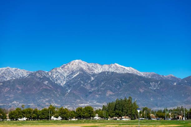 Snowcapped San Gabriel Mountains in Rancho Cucamonga stock photo