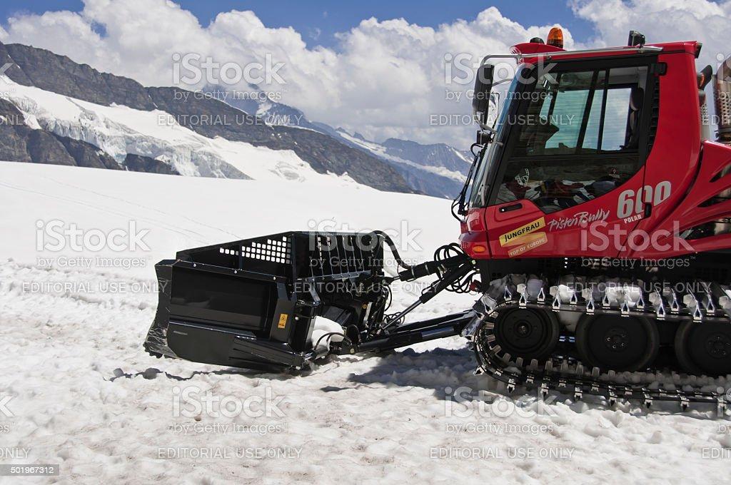 Snowcat Prepairing Runway stock photo