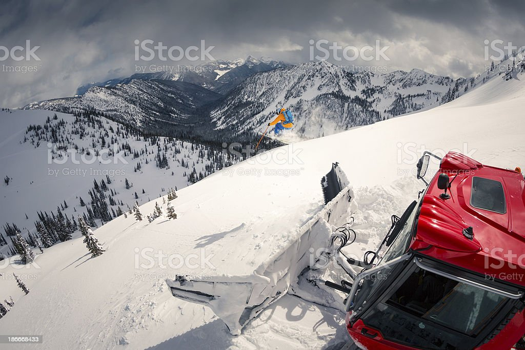snowcat skiing stock photo