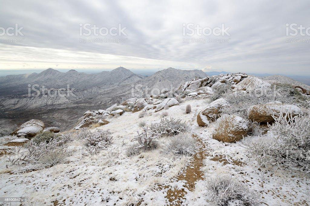 Snow-covered Desert Mountains stock photo