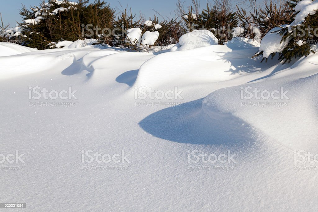 snow-covered field stock photo