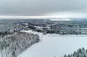 Snow-covered forest, fields covered with white snow. Typical European winter landscape. It's a nasty day. Aerial view.