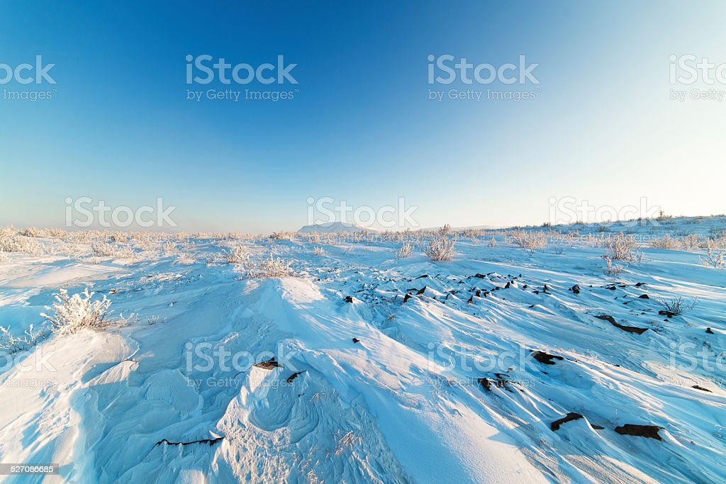 Snow-covered plateau stock photo
