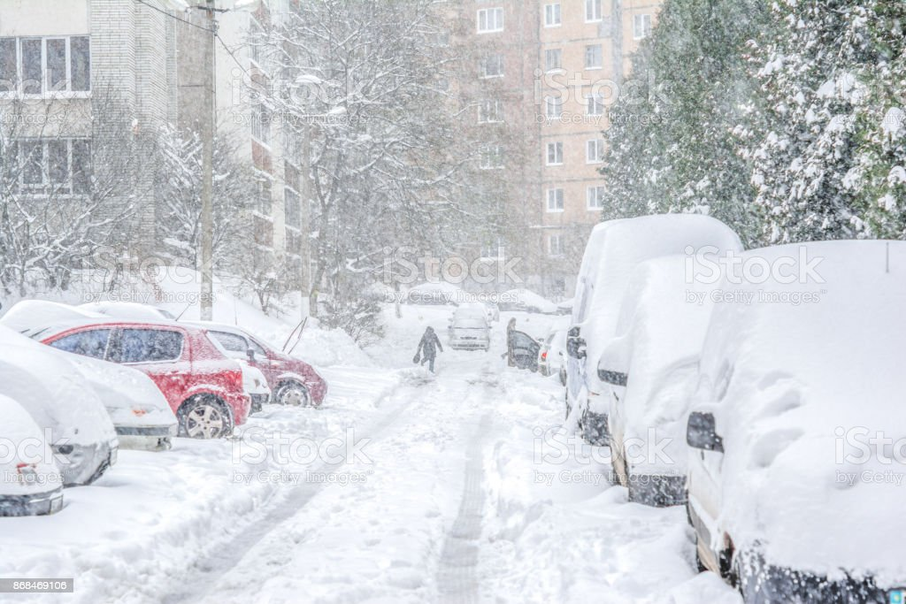 Snow-covered street/ Snowstorm stock photo