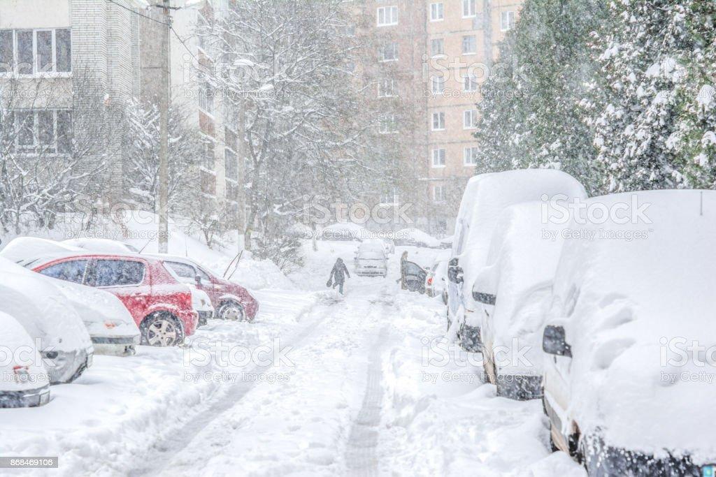 Schneebedeckte Straße / Schneesturm – Foto