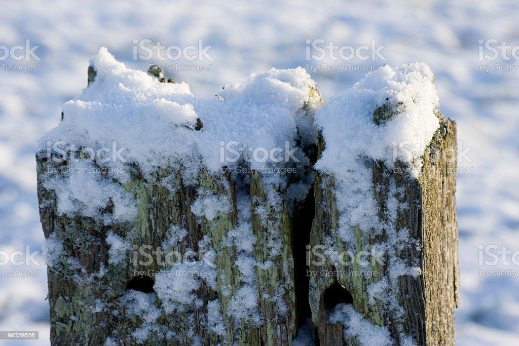 Coperta di neve Palo di legno foto stock royalty-free