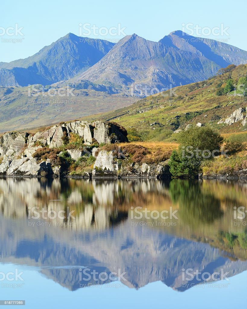 Snowdon, Crib coch and Garnedd Ugain stock photo
