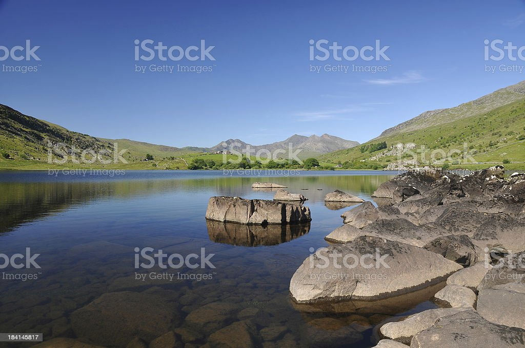 Snowdon from a lake royalty-free stock photo