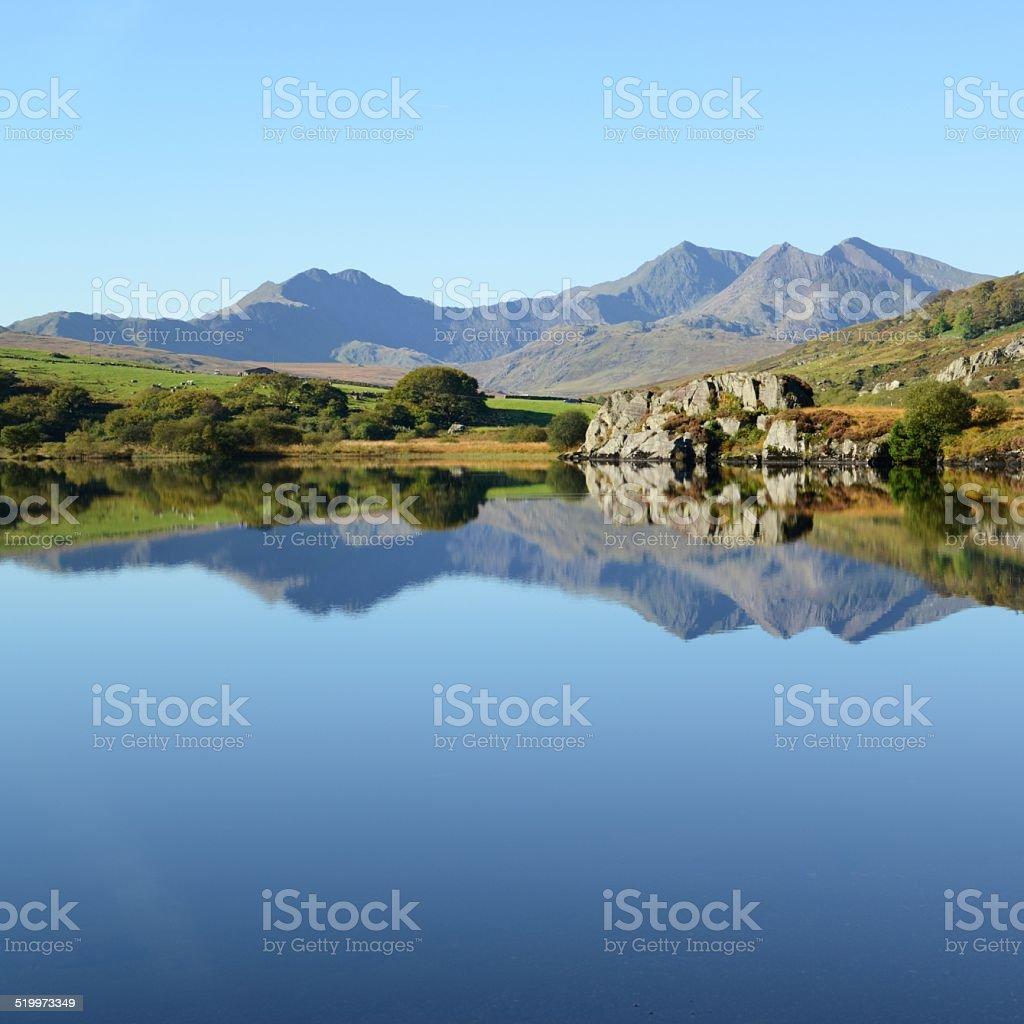 Snowdon Horseshoe mirrored stock photo