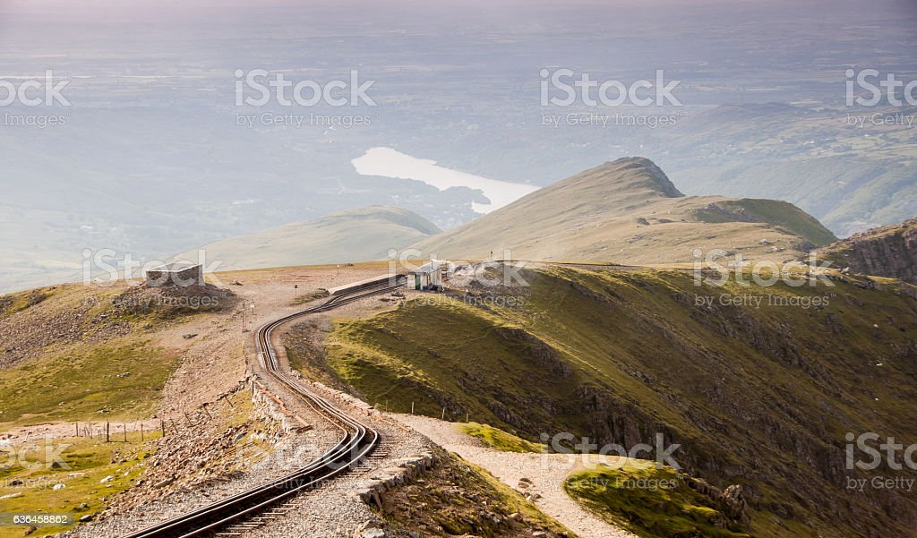 Snowdon mountain and railway stock photo