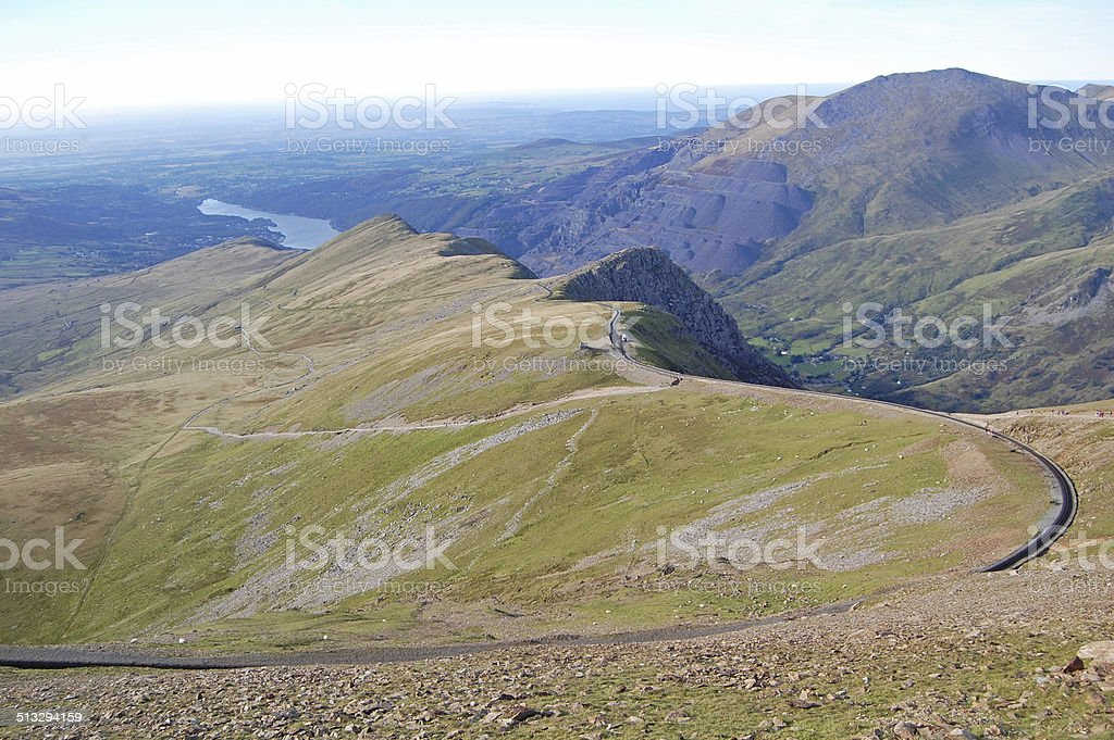 Snowdon railway route stock photo