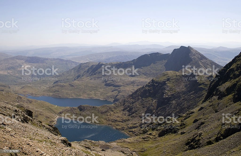 Snowdonia From Snowdon and the Zig-Zags royalty-free stock photo