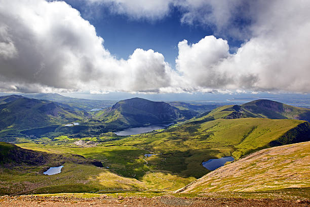 Snowdonia landscape The mountains and lakes of Snowdonia, looking from Mount Snowdon from the Llanberis Pass wales stock pictures, royalty-free photos & images