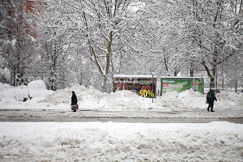 Snowdrift in the city royalty-free stock photo