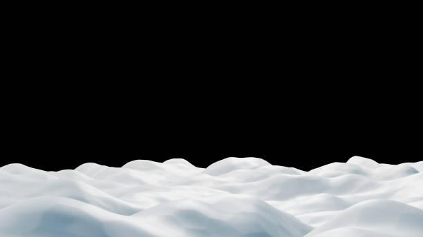 Snowdrift auf schwarzem Hintergrund 3D-Rendern – Foto