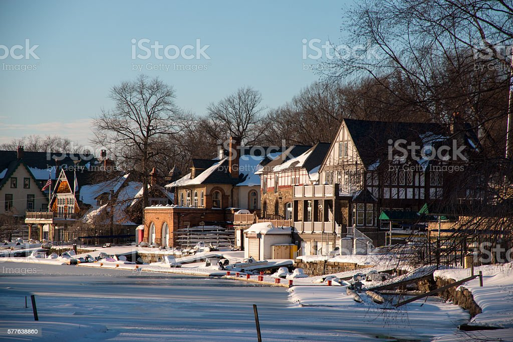 Snowed  covered Boathouse and Frozen Schuylkill River, Philadelphia stock photo
