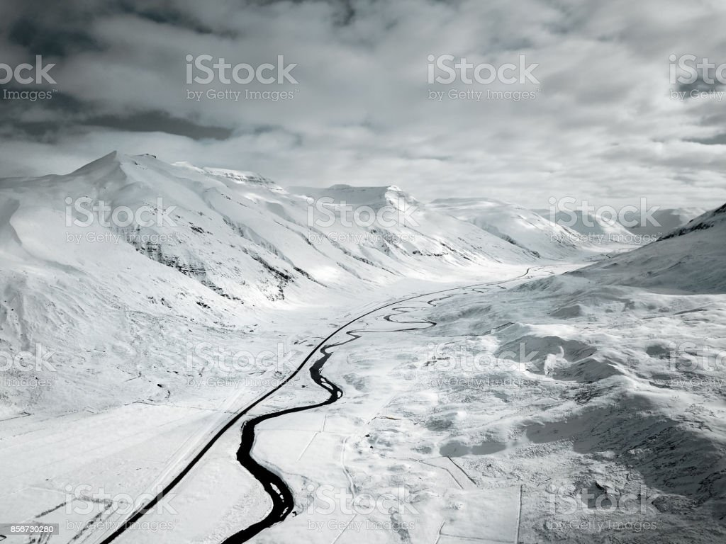 snowed landscape in iceland stock photo