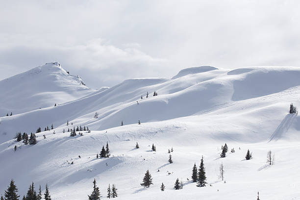 snowed mountain range stock photo