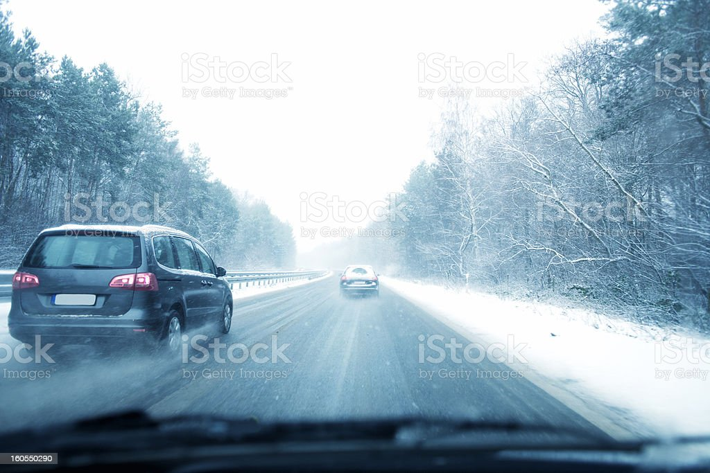 Snowfall, Country Road royalty-free stock photo