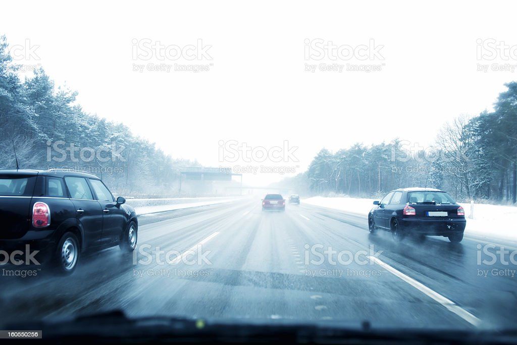 Snowfall, Highway, Germany stock photo