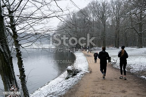 istock Snowfall in Brussels, Belgium 1301087483
