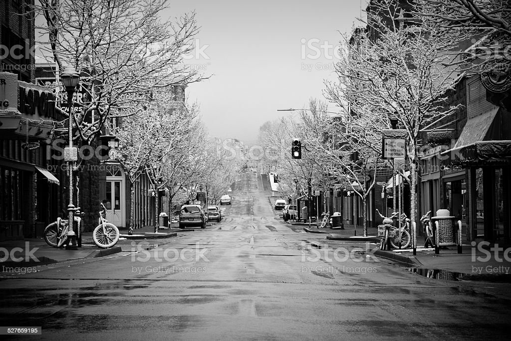 Snowfall in downtown Flagstaff, Arizon stock photo