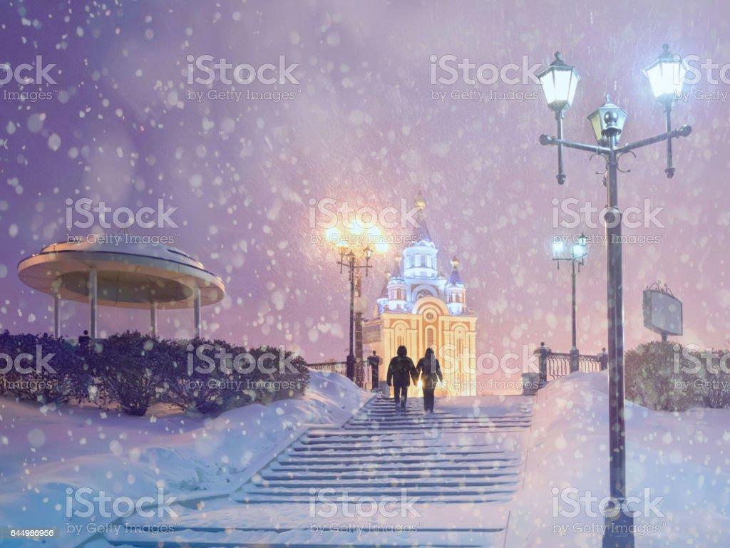 Snowfall in Khabarovsk.  Far East, Russia. – Foto