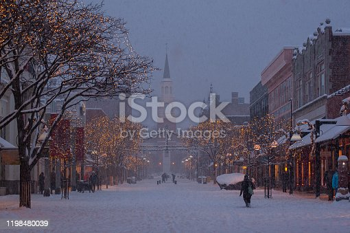 istock Snowfall in smll town New England town at dusk 1198480039